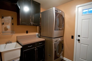 Clean, remodeled laundry room.