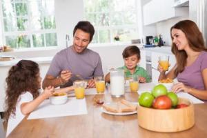 Family breakfast healthy kitchen