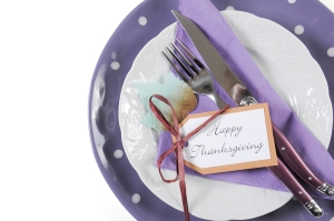 Happy Thanksgiving Fine Dining Table Place Setting In Purple, Wh